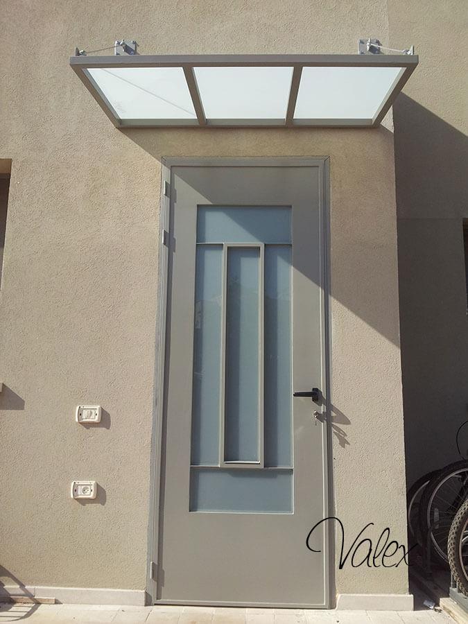 דלת בלגי ברזל זכוכית חלבית