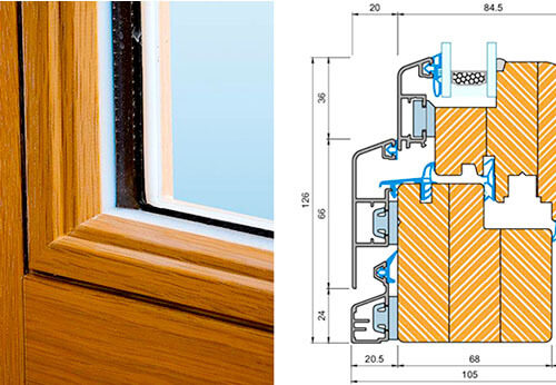 חתך של חלון עץ אלומנייום